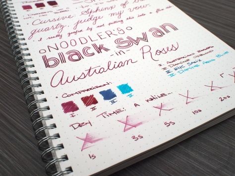 Noodler's Black Swan in Australian Roses Fountain Pen Ink Review