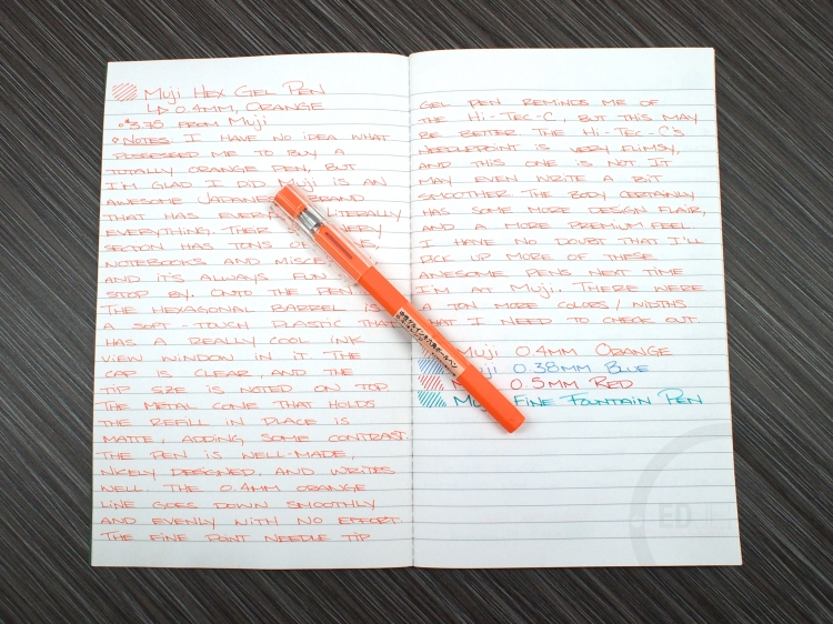 Muji Hexagonal Gel Pen Orange 0.4mm Review