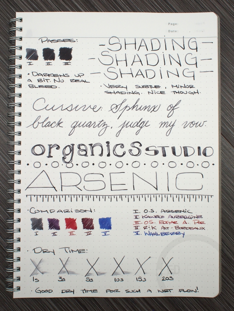 Organics Studio Arsenic Fountain Pen Ink Review