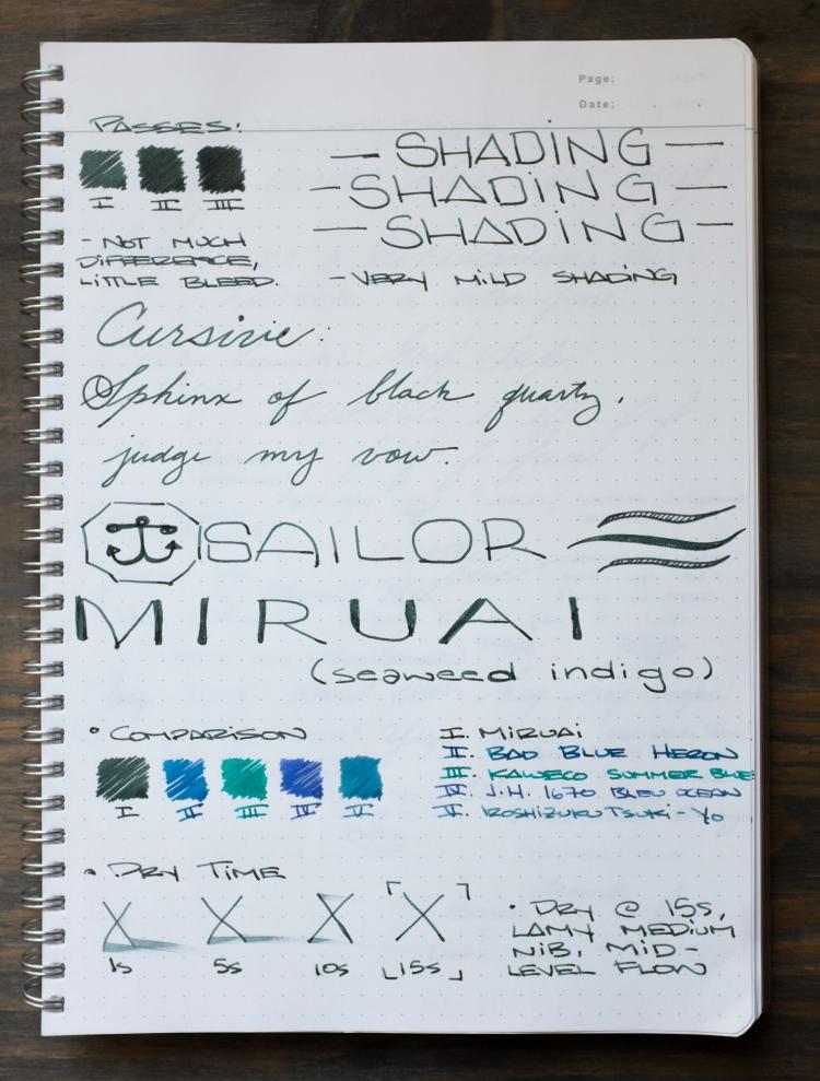 Sailor Miruai Green Fountain Pen Ink Review-2