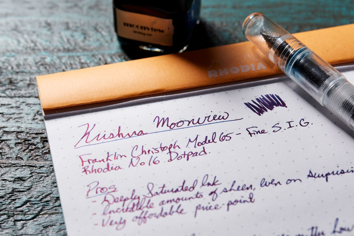 Krishna RC Fountain Pen Ink in Moonview Review